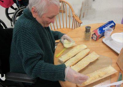 Terry making garlic bread